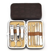 Binmer(TM)10 PCS Stainless Steel Nail Care Personal Manicure Pedicure Makeup Tools Set Travel Grooming