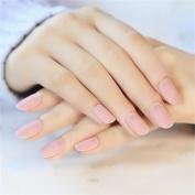 24pcs/set Salon Small Round Matte Fake Nail Beauty Nail Art Tips Full Cover Design Finished Nail Pink