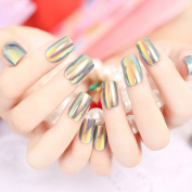 YUNAI High Light Nails Tips Reflective Mirror Full Cover French False Nails Manicure Art Square 24pcs/set