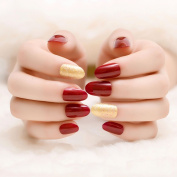 YUNAI 24 pcs/set French Full Nail Tips Round Head Smooth Texture False Nails Burgundy and Gold