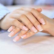 YUNAI 24 Pcs/set French Nails Nail Art Pre-design Acrylic Fake Nail Classical Full Cover Short White Manicure