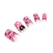 KeeNail Fake 3D Nails Short Pink Rose Ribbon 24 Piece Set