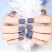 YUNAI 24Pcs/set Matte Grey False Nails Short Size Full Design Nail Tips Fake Nails Art Tips