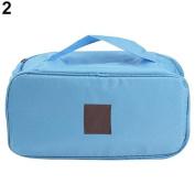 1 pc Portable Protect Bra Underwear Lingerie Case Travel Organiser Waterproof Bag Blue