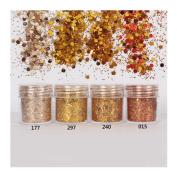 10ml/Box Glitter Powder Tips Gold Ultra-thin & 1mm Mixed Powder Nail Decoration #297