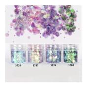 10ml/Box Glitter Powder Tips Pink Purple 1mm & 2mm & 3mm Mixed Powder Nail Decoration #3724