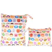 Damero 2pcs Pack Travel Baby Wet and Dry Cloth Nappy Organiser Bag, Cartoon Animals