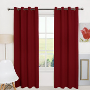 Aquazolax Plain Grommet Top Thermal Insulated Blackout Curtains Drapes for Office, Set of 2 Panels, 52x95, Red