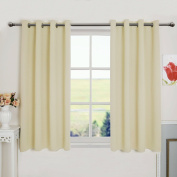 Aquazolax Solid Top Grommets Thermal Insulated Blackout Drapery Curtains for Bedroom, 2 Panels, 130cm x 160cm Inch, Beige