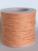 Peach 1mm Waxed Cord, for Beading and Macrame Supplies, 84 Metres, 91 Yards