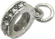 Pandora Style Antique Silver Colour Clear Rhinestone Bail Loop x 1pc