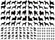 Dogs Paw Prints - Black 16CC671 Fused Glass Decals