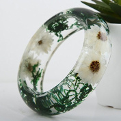Lucite Acrylic Handmade Real Flower Botanical Garden Resin Bangle Bracelet.{16} Inner Diameter Size 64mm,height 23mm.