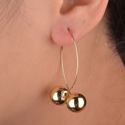 Gracious Runway Double Ball Two Sides Gold Plated Drop Dangle Stud Earrings Long