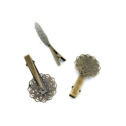 Price per 140 Pieces Fashion Jewellery Making Charms Findings Arts Crafts Beading Antique Bronze Tone I7LM1 Flower Hairpin Clip