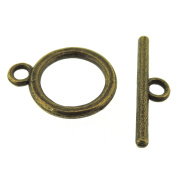 Toggle Clasp T-Bar & Ring Clasps 18mm, Antiqued Bronze Colour, 20 Sets