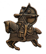 Mongol Warrior riding horseback, attacking with bow and arrow pin