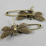 5 PCS Jewellery Making Charms Findings Supply Supplies Crafting Lots Bulk Wholesale Antique Bronze Tone Plated 09841 Dragonfly Safety Pins Brooch