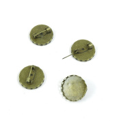 Price per 40 Pieces Fashion Jewellery Making Charms Findings Arts Crafts Beading Antique Bronze Tone R1MK1 Round Cabochon Frame Setting Brooch 20mm
