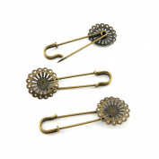 Price per 30 Pieces Fashion Jewellery Making Charms Findings Arts Crafts Beading Antique Bronze Tone Q7VT7 Flower Safety Pins Brooch