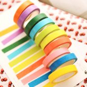 Mziart 10 Rolls Rainbow Washi Masking Tape DIY Sticker Adhesive Paper Tape for Scrapbooking & Phone DIY Decoration