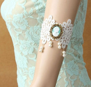 mywaxberry handmade bridal wedding dress accessory tiara armband chain sleeve ring, white lolita lace gemstones