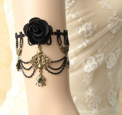 mywaxberry handmade bridal wedding dress accessory tiara armband chain jewellery, black lace rose