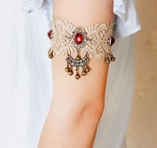 mywaxberry handmade bridal wedding dress accessory tiara armband chain jewellery, lace red gemstones ring bells