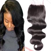 Derun Hair Beauty Closure Size 10cm x 10cm Natural Black Colour 25cm Inch Free Part Virgin Human Hair Bleached Knots Body Wave Lace Closure