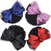 Xuanli® Woman Girl Lady Bowknot Bow Snood Net Bun Cover Barrette Hair Clip