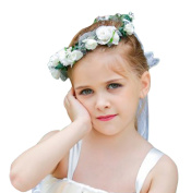 Wedding Flower Girl Halo Crown Flowers Leaf Headpiece Headband Garland Wreath for Hair Accessories Boho