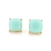 Simple Gold-tone Mint Green Square Stone Stud Earrings