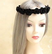 handmade wreath married bridal headdress wedding dress accessory tiara headband, black halloween roses