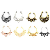 Aoyoho 8pcs Fake Septum Clicker Nose Hoop Ring Non Piercing Clip