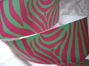 Grosgrain Ribbon - *Hot Pink and Neon Green Zebra Print* - 3.8cm W - 5 Yards