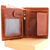 Mens Money Clip Genuine Leather Wallet Coin Pocket Retro Purse Vintage Craftsmanship Luxury Art