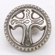 Small Cross and Fish Line 24 Snap Cap Antique Nickel 1.9cm 1265-96
