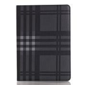 iPad Air 2 Book Style Case,SAVYOU Grid Pattern Folio Flip Stand Case Card Slot Wallet Smart Cover [Auto Sleep Wake] For iPad Air 2 (iPad 6)Grid-Black