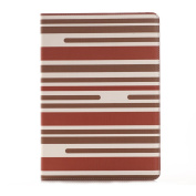 iPad Air 2 Folio Case, SAVYOU Stripe Pattern PU Leather Flip Case [Card Slot Case] with Auto Sleep/Wake Function Flip Stand Case Cover for Apple iPad Air 2/iPad 6 Stripe-Brown