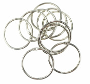 Bilipala 10 Pcs Loose Leaf Binder Rings Book Ring Keychain, Silver, 3.8cm