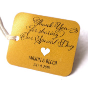 Summer-Ray.com 50pcs Personalised Mini Rounded Rectangle Shimmered Gold Wedding Favour Gift Tags Thank you for Sharing Our Special Day