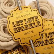 Summer-Ray.com 48 Personalised Shimmered Gold Vintage I Wedding Sparklers Tags Let Love Sparkle