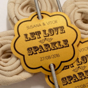 Summer-Ray.com 48 Personalised Shimmered Gold Vintage Scallop Wedding Sparklers Tags Let Love Sparkle