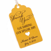 Summer-Ray.com 50pcs Personalised Mini Royale Shimmered Gold Wedding Favour Gift Tags Thank You for Sharing Our Special Day