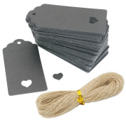 100pcs Black Hollow Heart Kraft Paper Gift Tags with 20 Metres Natural Jute Twine, SOOKOO Wedding Party Gift Tags Name Price Labels