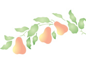 Pear Branch Stencil - (size 32cm w x 17cm h) Reusable Wall Stencils for Painting - Best Quality Fruit Kitchen Stencil Ideas - Use on Walls, Floors, Fabrics, Glass, Wood, Terracotta, and More...
