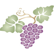 Grape Stencil - (size 20cm w x 17cm h) Reusable Wall Stencils for Painting - Best Quality Fruit Kitchen Stencil Ideas - Use on Walls, Floors, Fabrics, Glass, Wood, Terracotta, and More...