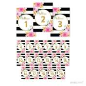 Andaz Press Floral Gold Glitter Print Wedding Collection, Table Numbers 1 - 20 on Perforated Paper, Single-Sided, 10cm x 15cm , 1 Set