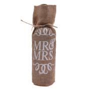 Kloud City ® MR & MRS Printed Linen Wine Bottle Gift Bag