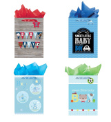 All Occasion Party Gift Bags - Set of 4 Jumbo Baby Gift Bags w/Tags & Tissue Paper